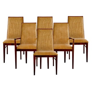 Set of Six Walnut Dining Chairs by Dillingham For Sale