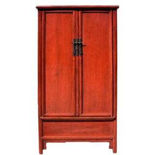 19th Century Chinese Antique Red Round Corner Cabinet For Sale