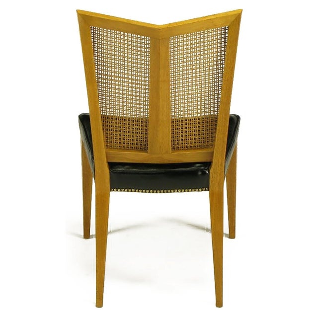Set of Six Michael Taylor for Baker Walnut and Leather Dining Chairs For Sale In Chicago - Image 6 of 9