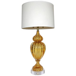 Marbro Large Amber Seguso Murano Italian Table Lamp