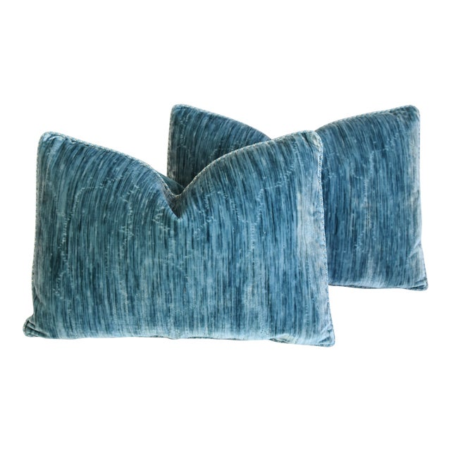 """Scalamandre & Clarence House Velvet Fabric Feather/Down Pillows 24"""" X 16"""" - Pair For Sale"""