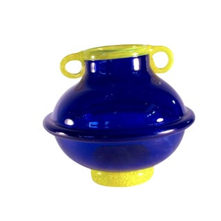 Vintage Signed Cobalt and Yellow Art Glass Amphora Vase For Sale