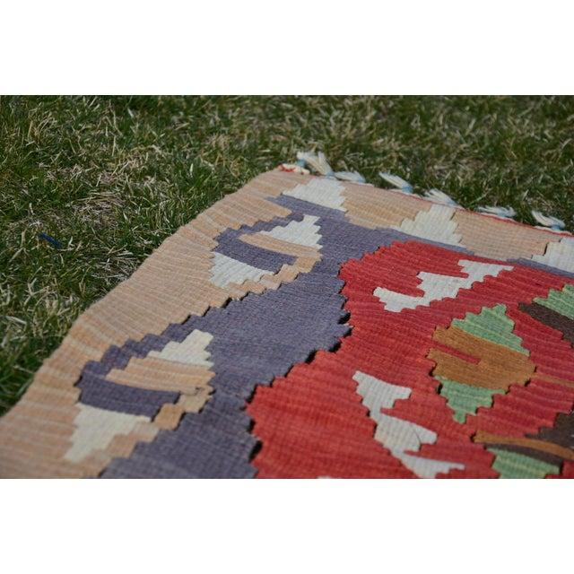 Turkish Traditional Handwoven Anatolian Nomadic Rustic Style Oushak Kilim Rug For Sale - Image 12 of 13