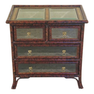 Traditional Maitland Smith Small Leather Wrapped Curio Display Chest For Sale