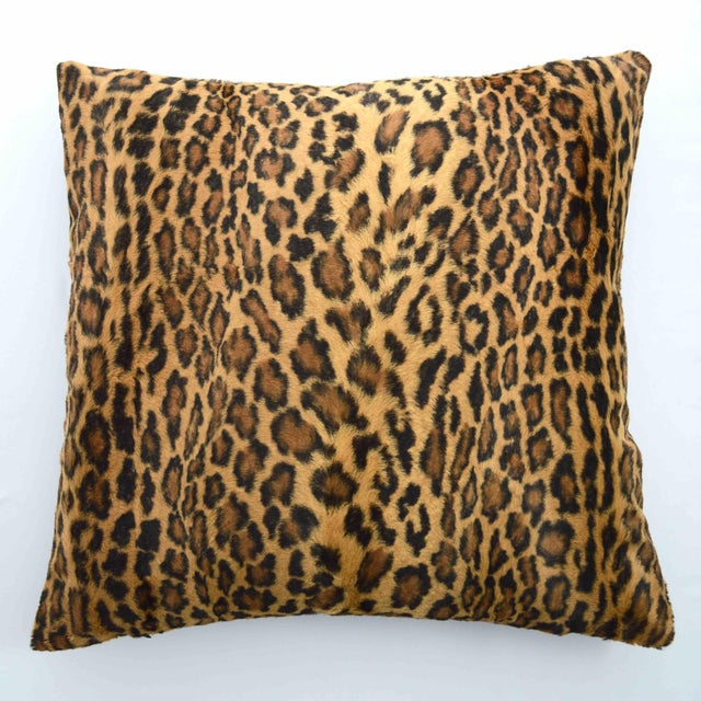 Italian Faux Fur Leopard Printed Pillow - Image 2 of 4