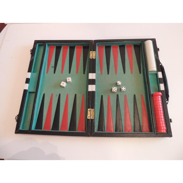 1980s Vintage Black, Green and White Backgammon Game For Sale - Image 5 of 5