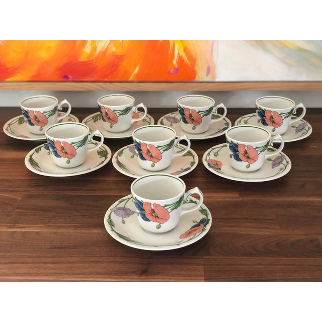 1980s Villeroy & Boch Amapola Cup & Saucers - Set of 8 For Sale - Image 11 of 11