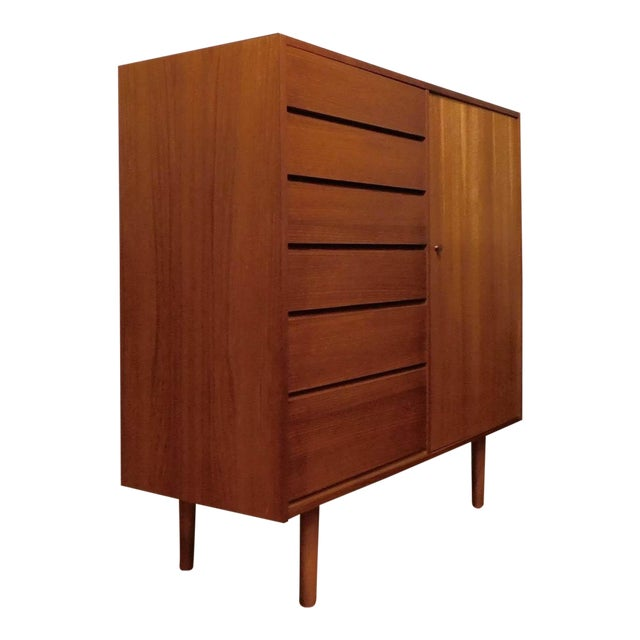 Danish Modern Uldum Mobler Teak Gentlemans Tallboy Chest Dresser For Sale