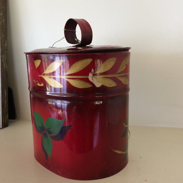 Antique Hand Painted Toleware Tea Caddy For Sale - Image 4 of 13