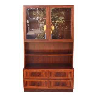 Rosewood Danish 2 piece Display Cabinet For Sale