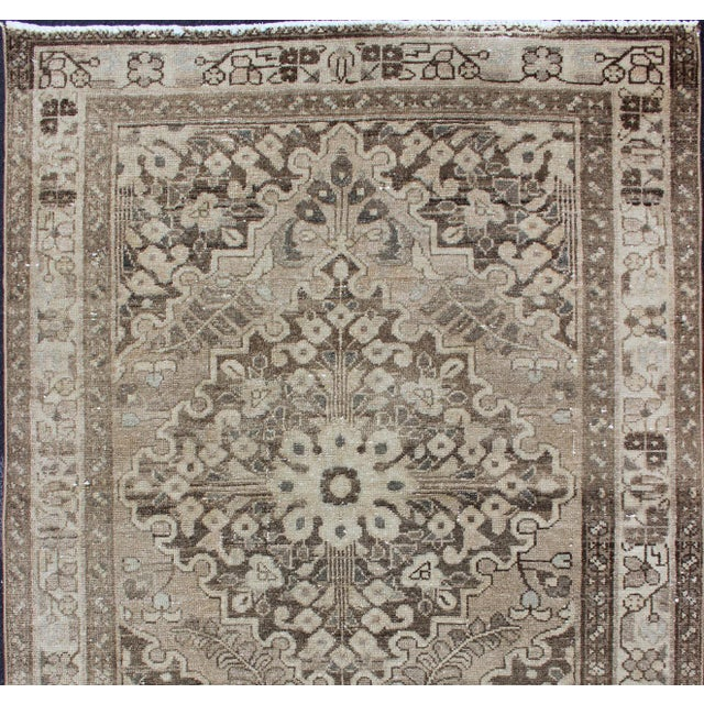 Neutral Tone Vintage Persian Lilihan Rug With Medallion For Sale - Image 4 of 13