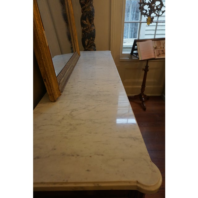 French 19th Century Louis XVI Walnut Enfilade With Marble Top For Sale - Image 3 of 12