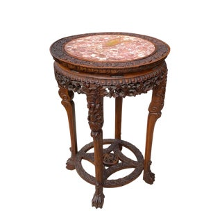 19th Century Chinese Carved Hong Mu Marble Top Pedestal Table For Sale