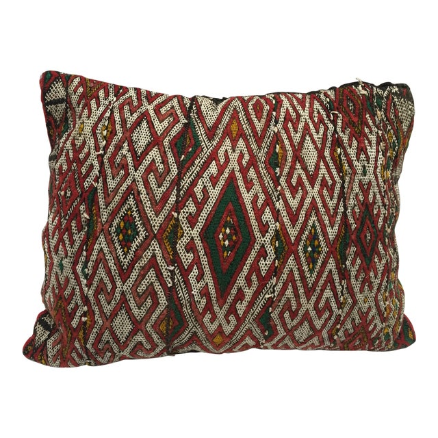 Moroccan Berber Handwoven Tribal Throw Pillow Made From a Vintage Rug For Sale