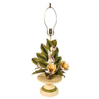 1940s Italian Magnolia Tole Table Lamp For Sale