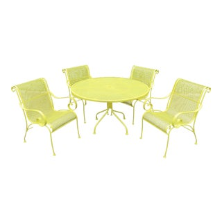 A Vtg 1970s Yellow Patio Set by Woodard Wrought Iron Table 4 Arm Chairs Scroll For Sale