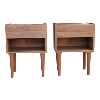 Mid-Century Modern Walnut Night Stands - a Pair