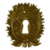 Image of French Ormolu Wreath & Floral Escutcheon Keyhole Cover For Sale