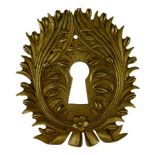 French Ormolu Wreath & Floral Escutcheon Keyhole Cover For Sale