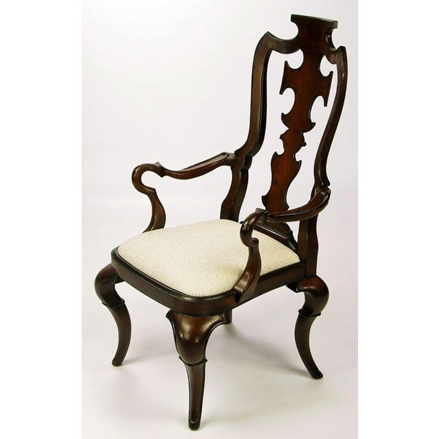 Thomasville Pair of High Back Carved Walnut Gothic Style Armchairs For Sale - Image 4 of 9