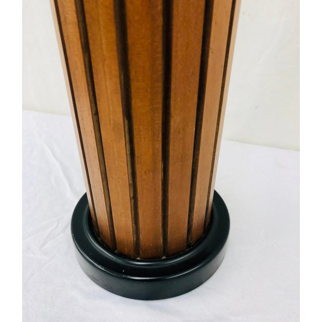 Mid 20th Century Vintage Mid Century Wood Panel Table Lamp For Sale - Image 5 of 7