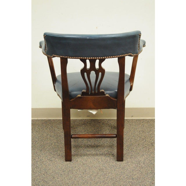 Vintage Ephraim Marsh Chippendale Blue Leather & Mahogany Library Office Arm Chair - Image 2 of 11