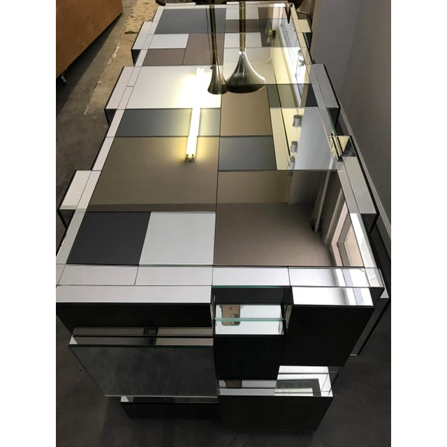 Paul Evans Style Mirrored Dining Table Base For Sale - Image 4 of 6