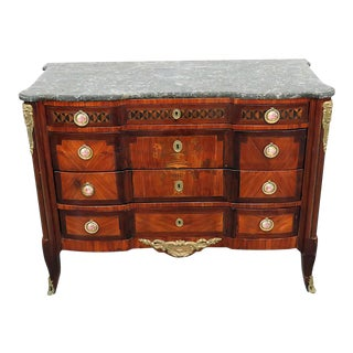 18thC French Empire Style Inlaid Marble Top Commode For Sale