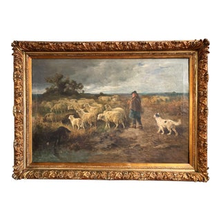 Mid-19th Century French Oil on Canvas Sheep Painting in Carved Gilt Frame Signed For Sale