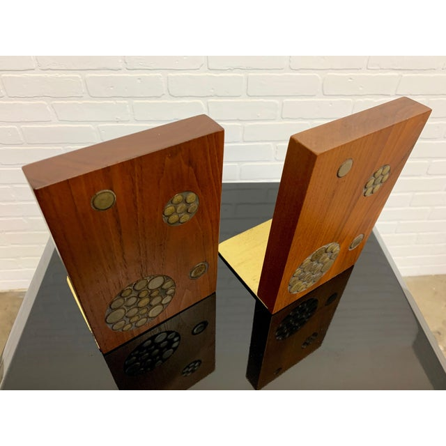 Mid-Century Modern Gordon & Jane Martz for Marshall Studios Walnut and Tile Bookends For Sale - Image 3 of 10