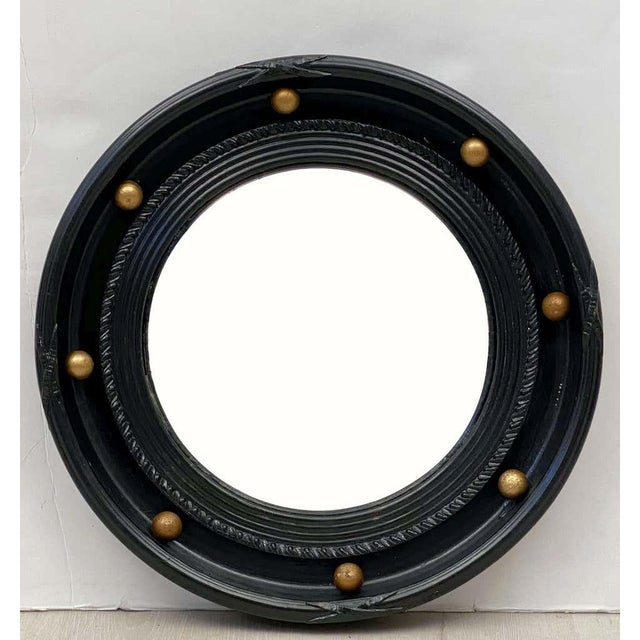 English Round Ebony Black and Gold Framed Convex Mirror For Sale - Image 11 of 13