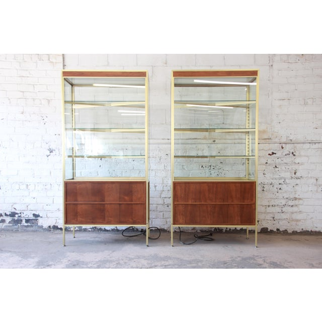 Baker Furniture Hollywood Regency Campaign Style Lighted Display Cabinets - a Pair For Sale - Image 11 of 13