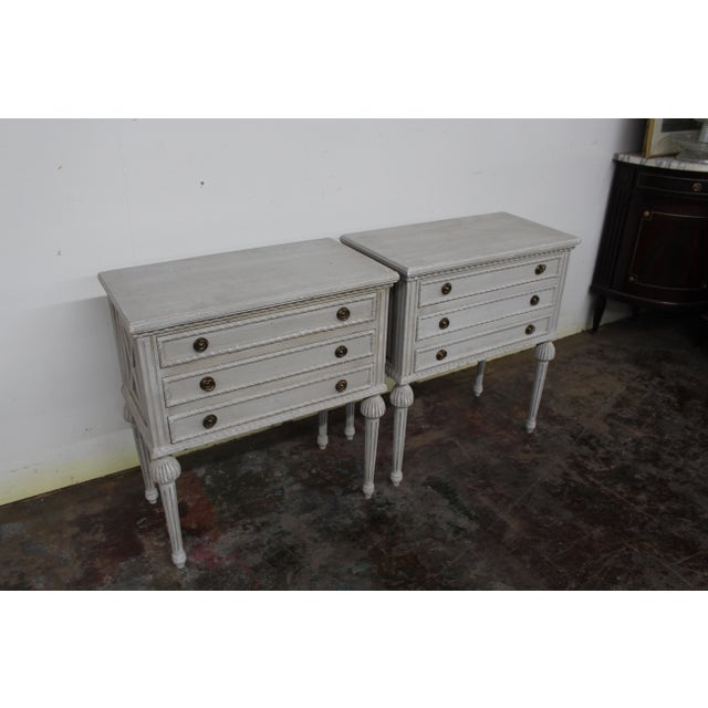 Gray 20th Century Swedish Gustavian Style Nightstands-A Pair For Sale - Image 8 of 8
