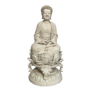 Late 19th Century Vintage Chinese Blanc De China Sitting Buddha Statue For Sale