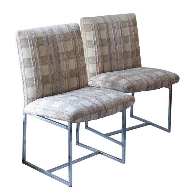 Milo Baughman 1970s Upholstered Chrome Dining Chair For Sale - Image 4 of 5