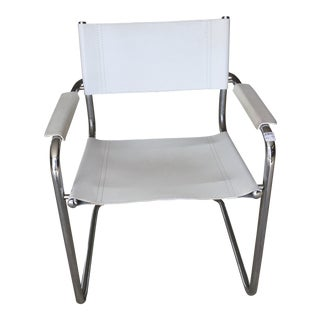 Modern White Leather and Chrome Chair
