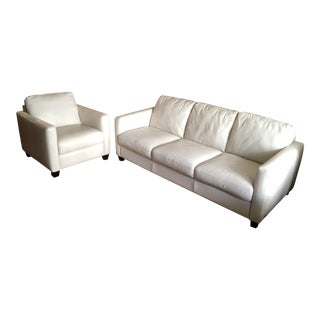 Natuzzi Editions White Leather Rubicon Sofa & Chair For Sale