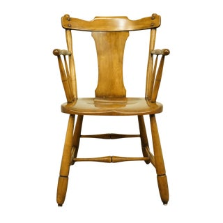 Late 20th Century Conant Ball Solid Hard Rock Maple Pub Style Dining Arm Chair For Sale