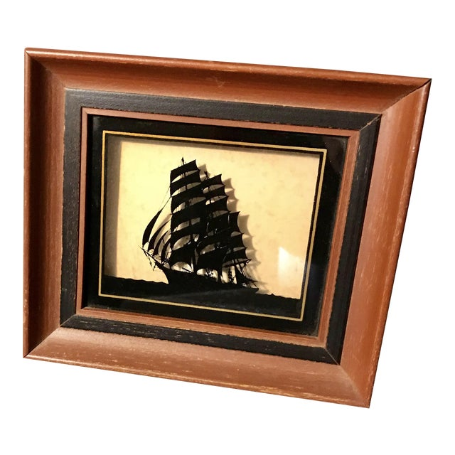 Framed Painted Silhouette Ship On Glass Chairish
