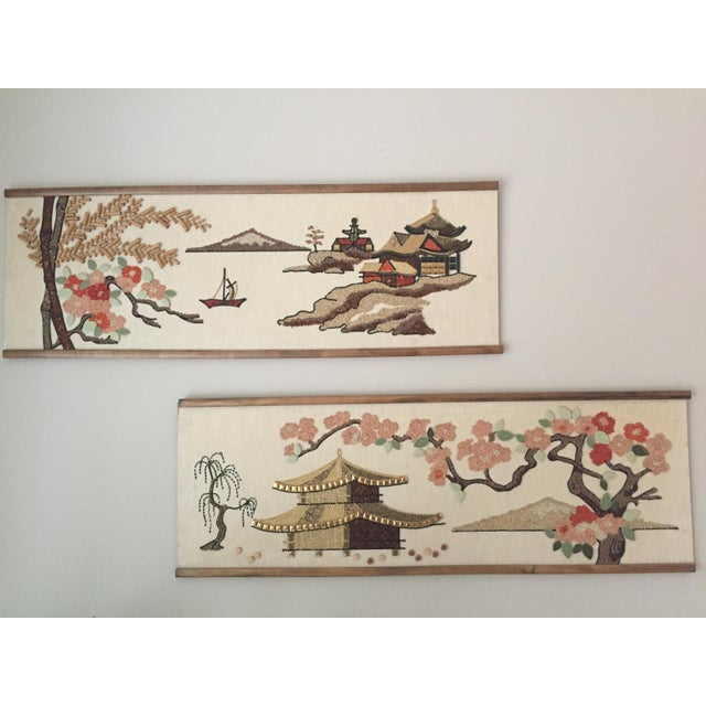Asian Mid-Century Asian Art Collages - a Pair For Sale - Image 3 of 4