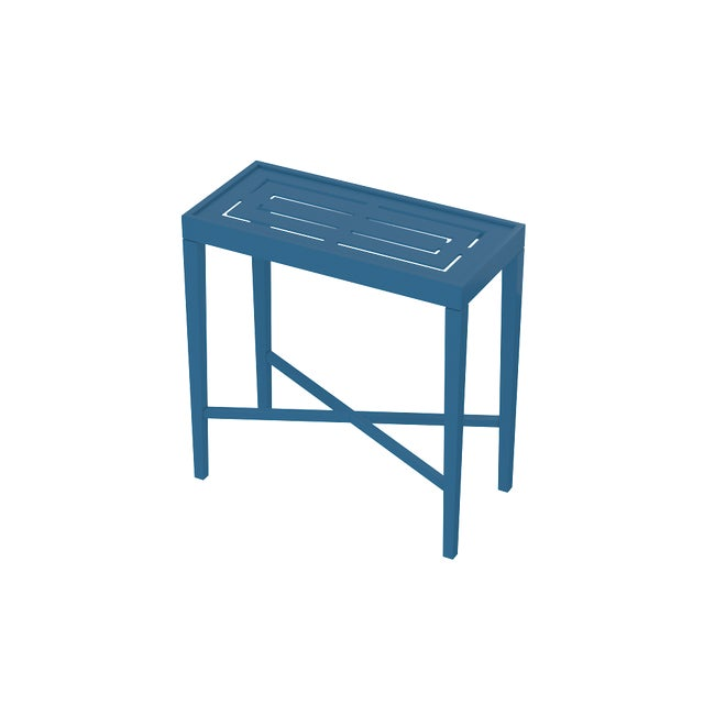 Oomph On the Rocks Rectangle Outdoor Side Table, Blue For Sale In Charlotte - Image 6 of 7