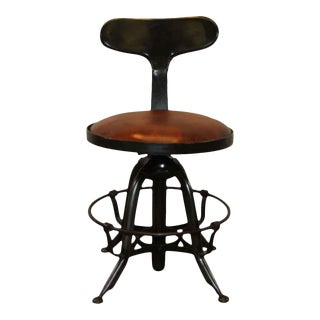 Black Metal & Leather Top Bar Stool For Sale