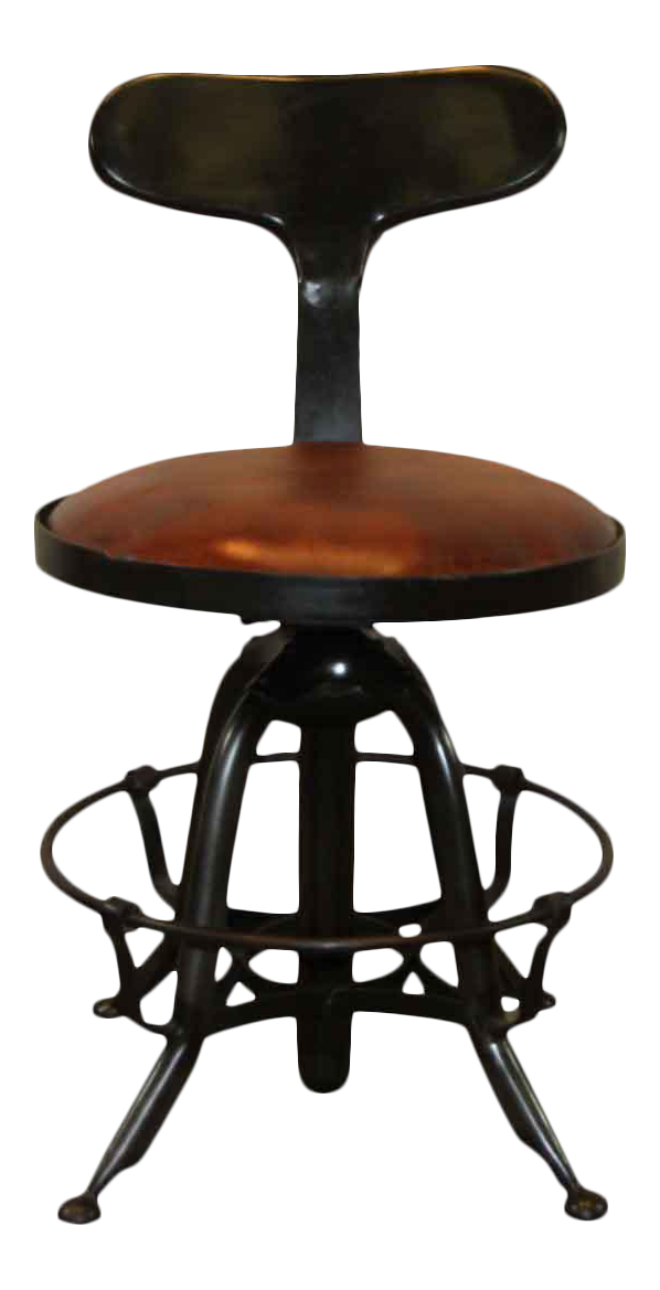 Black Metal U0026 Leather Top Bar Stool
