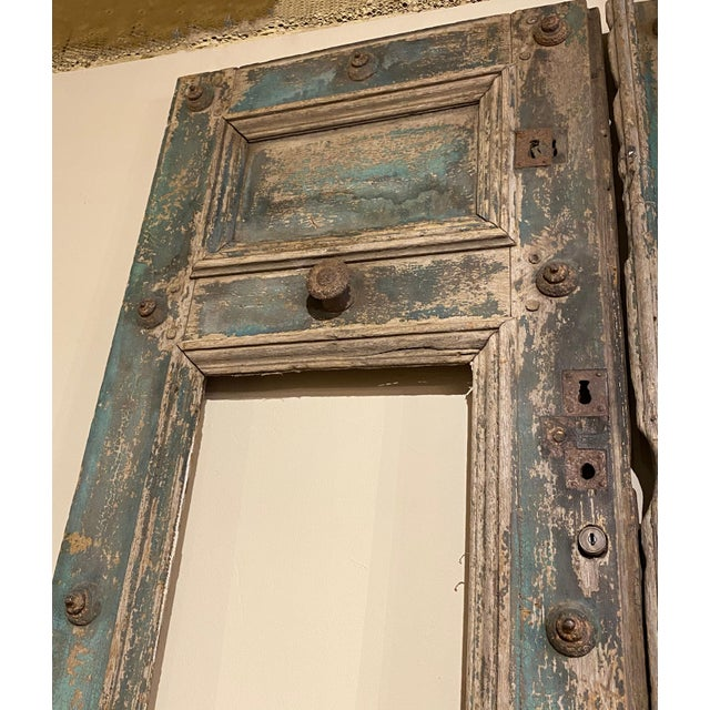 French 19th Century French Blue Doors - a Pair For Sale - Image 3 of 8