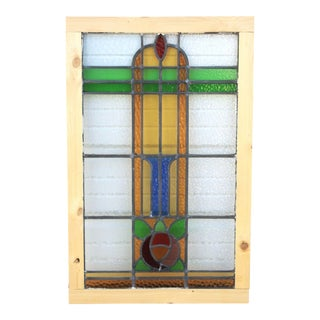 1920's Antique English Stained Glass Window For Sale