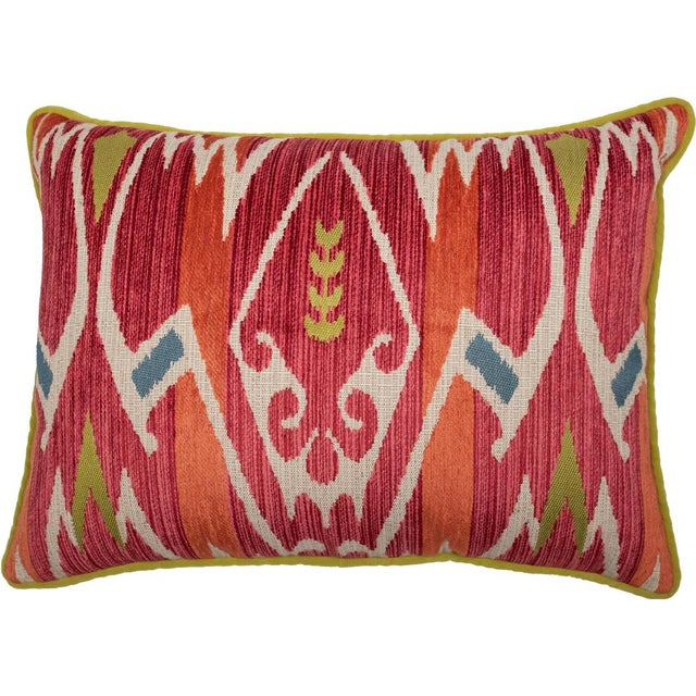 Red and Green Velvet Geometric Patterned Pillow For Sale In Greenville, SC - Image 6 of 6
