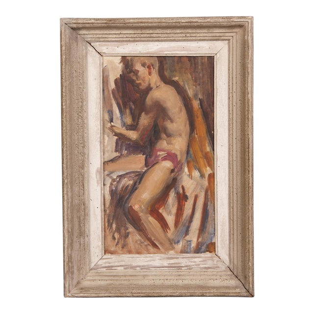Signed painting by English artist Victor Hume of an Athlete, circa 1960 For Sale
