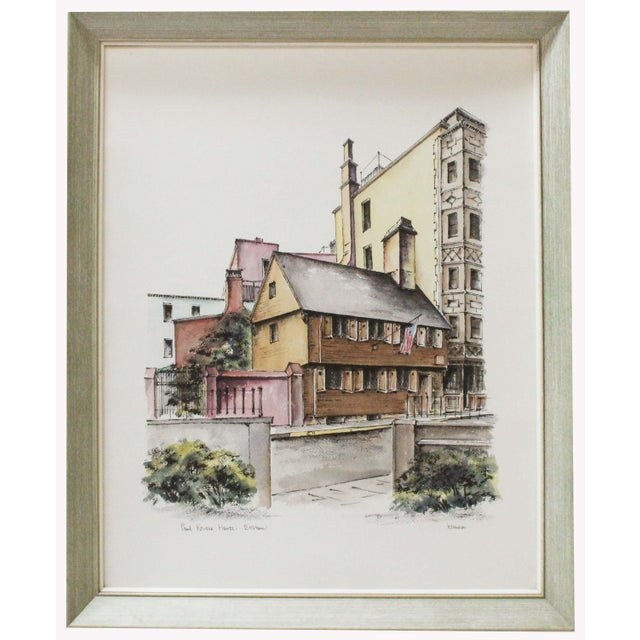 Vintage watercolor painting by Frank Keenan of the Paul Revere House in Boston. The painting is framed under glass and...