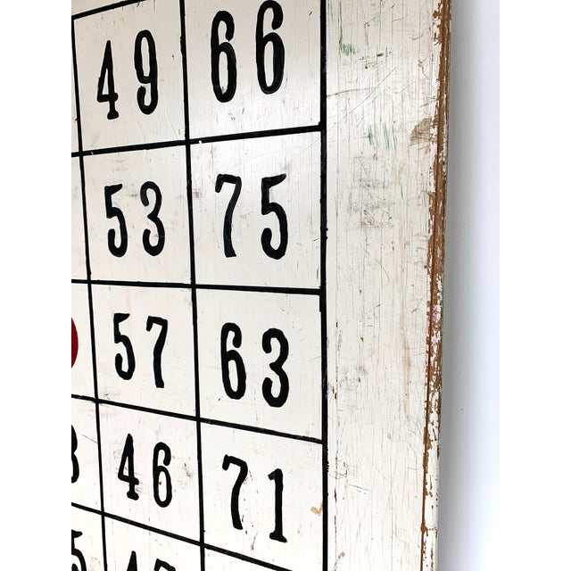 "1960s Vintage 48"" / 4 Ft Wood Distressed Hand Painted Bingo Card Sign For Sale - Image 5 of 6"