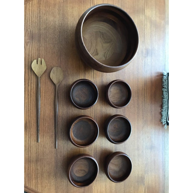 Mid-Century Modern Illums Bolighus for Wiggers of Denmark Salad Serving Set - Set of 9 For Sale - Image 3 of 8